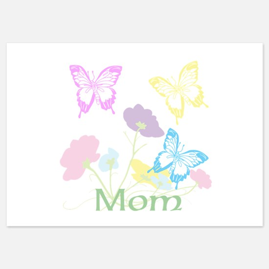 Personalize mom Flowers & Butterfli 5x7 Flat Cards