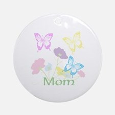 Personalize mom Flowers & Butterf Ornament (Round)