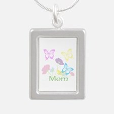 Personalize mom Flowers Silver Portrait Necklace