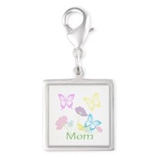 Personalize mom Flowers & But Silver Square Charm