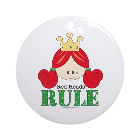 Red Heads Rule Ornament (Round)