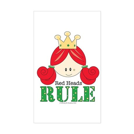 Red Heads Rule Rectangle Sticker