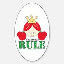 Red Heads Rule Oval Decal