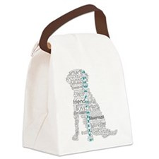 4 Paws Gray Teal Canvas Lunch Bag