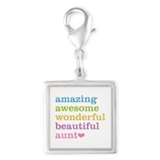 Amazing Aunt Silver Square Charm