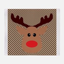Red Nosed Reindeer on Polka Dots Throw Blanket