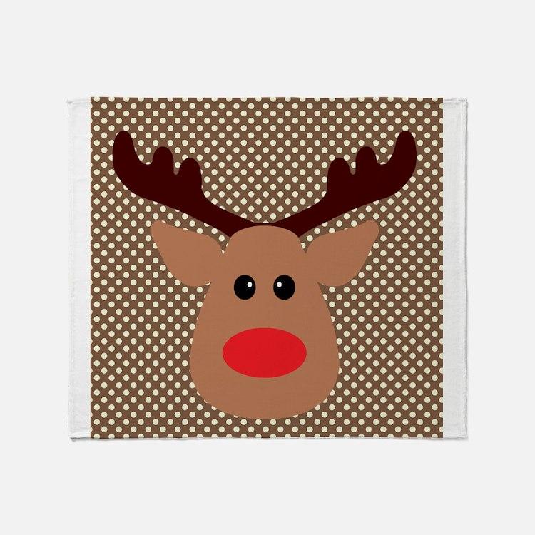 Red Nosed Reindeer on Polka Dots Throw Blanket
