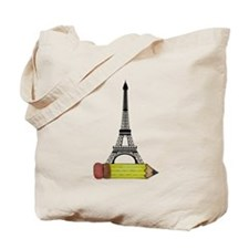 Eiffel Tower on Pencil Tote Bag