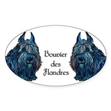 Bouvier des Flanders too Oval Decal