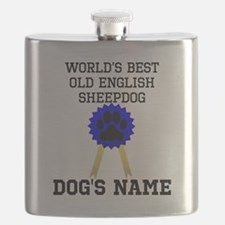 Worlds Best Old English Sheepdog (Custom) Flask