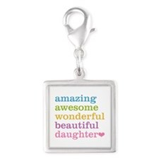 Amazing Daughter Silver Square Charm