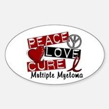 Multiple Myeloma Peace Love Cure 1 Sticker (Oval)