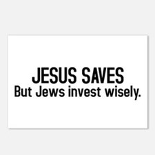 Jesus saves but Jews invest wisely Postcards (Pack