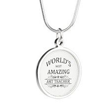 World's Most Amazing Art Tea Silver Round Necklace