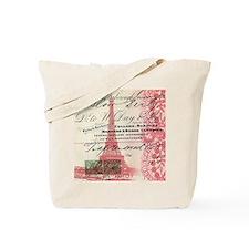 vintage scripts  paris eiffel tower Tote Bag