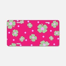 Cute Hot Pink LUCKY IN LOVE Aluminum License Plate