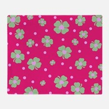 Cute Hot Pink LUCKY IN LOVE Throw Blanket