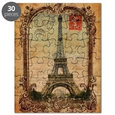 vintage scripts postage paris eiffel tower Puzzle