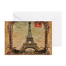 vintage scripts postage paris eiffel Greeting Card