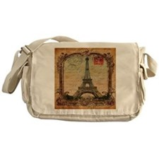 vintage scripts postage paris eiffel Messenger Bag