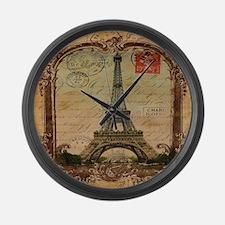 vintage scripts postage paris eif Large Wall Clock