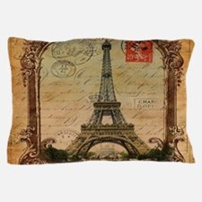 vintage scripts postage paris eiffel t Pillow Case