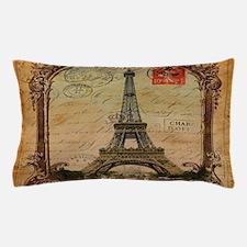 vintage scripts postage paris eiffel t Pillow Case