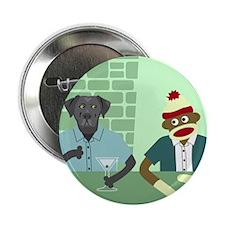 Black Labrador Retriever & Sock Monkey Button