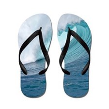 Waimea Bay Wave Hawaii Tropical Flip Flops