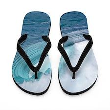 Waimea Bay Wave Hawaii Tropical Flip Flops