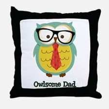 Owlsome Dad Throw Pillow