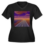Lonesome Tru Women's Plus Size V-Neck Dark T-Shirt