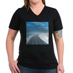 Ice Road Women's V-Neck Dark T-Shirt