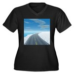 Ice Road Women's Plus Size V-Neck Dark T-Shirt