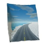 Ice Road Burlap Throw Pillow