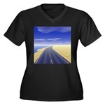 Fine Day Women's Plus Size V-Neck Dark T-Shirt