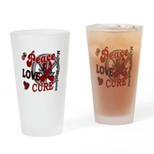 Multiple Myeloma Peace Love Cure 2 Drinking Glass