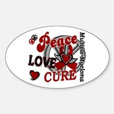 Multiple Myeloma Peace Love Cure 2 Sticker (Oval)
