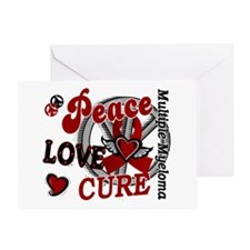 Multiple Myeloma Peace Love Cure 2 Greeting Card