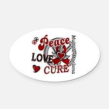 Multiple Myeloma Peace Love Cure 2 Oval Car Magnet