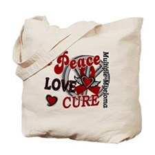 Multiple Myeloma Peace Love Cure 2 Tote Bag