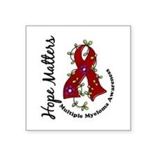 "Multiple Myeloma Flower Rib Square Sticker 3"" x 3"""