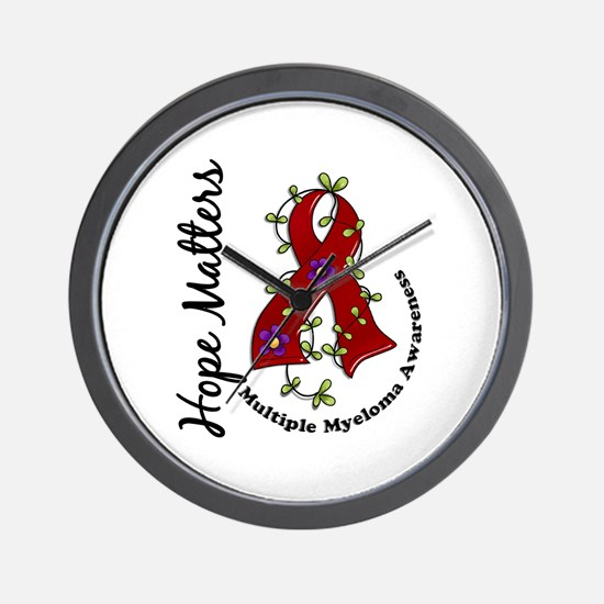 Multiple Myeloma Flower Ribbon 1.4 Wall Clock