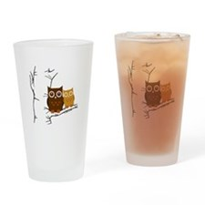 Owls Drinking Glass