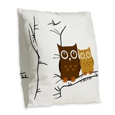 Owls Burlap Throw Pillow