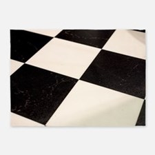 Black & White Checkered Floor 5'x7'Area Rug