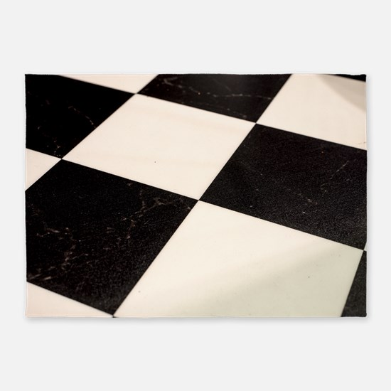 Black & White Checkered Floor 5'x7'Area Rug