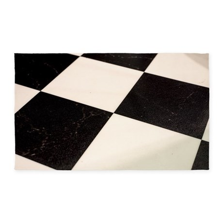 Black white checkered floor 3 39 x5 39 area rug by listing for Checkered carpet black and white