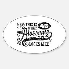 45th Birthday Sticker (Oval)