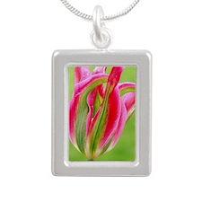 Parrot Tulip Silver Portrait Necklace